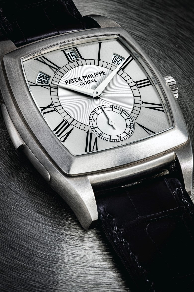 Patek Philippe. a unique and highly important titanium automatic cathedral minute repeating annual calendar wristwatch, manufactured in 2003. Case Glazed display snap on back, 38 mm wide, signed. Sold for HK$15,125,000 on 13 July 2020 at Christie's in Hong Kong