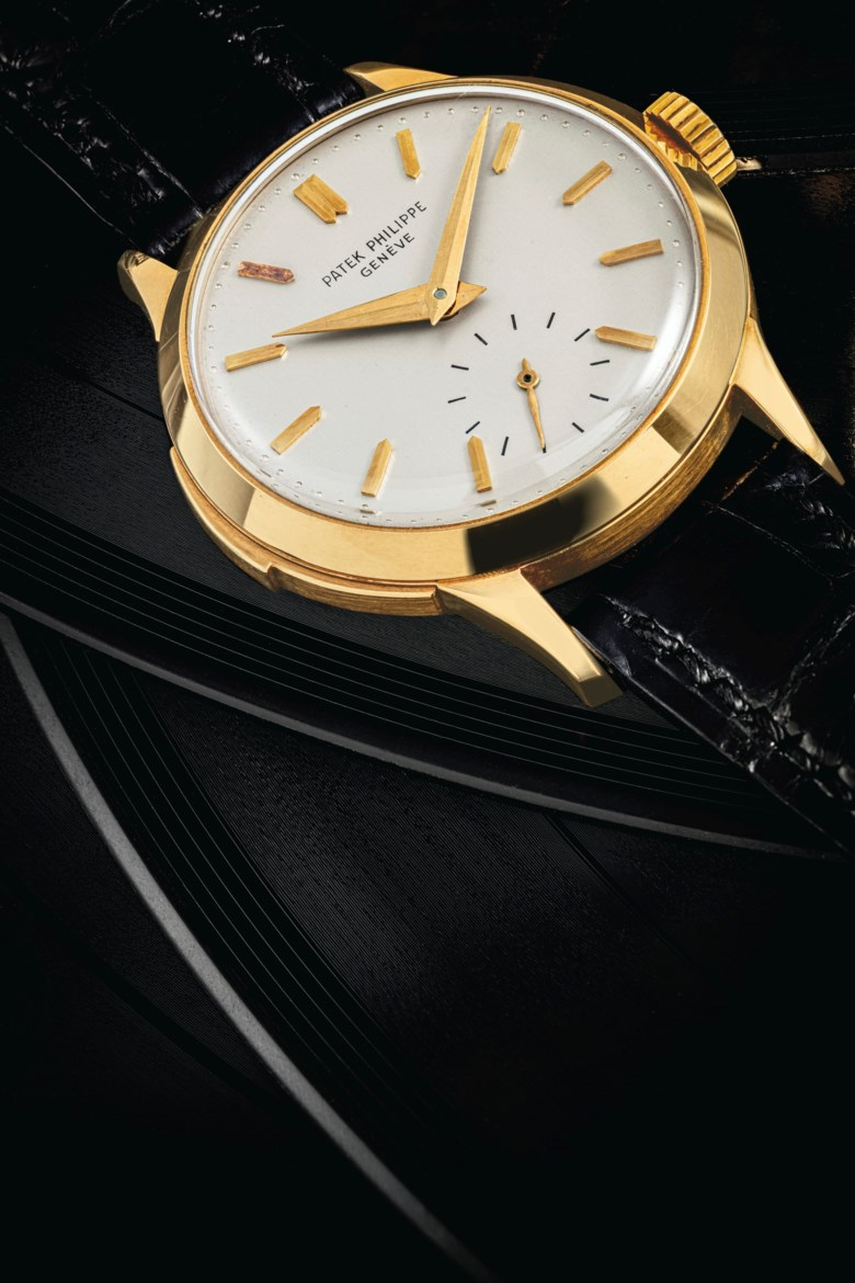Patek Philippe. an extremely rare 18k gold minute repeating wristwatch, signed Patek Philippe, Geneve, manufactured in 1955. Case Snap on back, 33  mm  diameter. Sold for HK$6,125,000 on 13 July 2020 at Christie's in Hong Kong