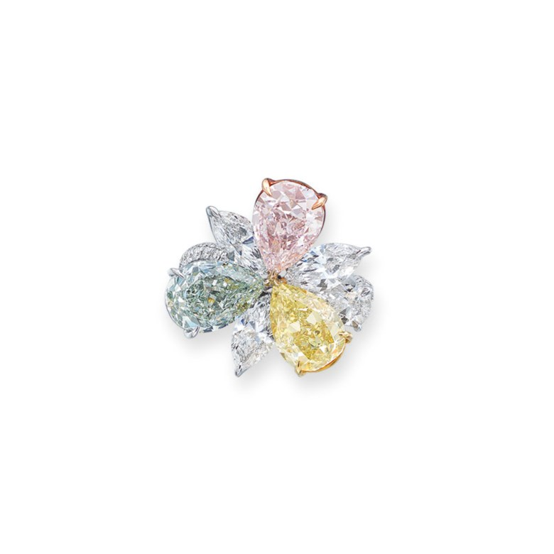 Coloured diamond and diamond ring. Fancy yellowish green pear modified brilliant-cut diamond of 3.00 carats, fancy yellow diamond of 2.44 carats, fancy light pink diamond of 2.23 carats, marquise and pear brilliant-cut diamonds of 0.70 to 0.45 carats, circular-cut diamonds, gold, ring size 6. Estimate HK$1,600,000-2,500,000. Offered in Hong Kong Magnificent Jewels on 9 July 2020 at