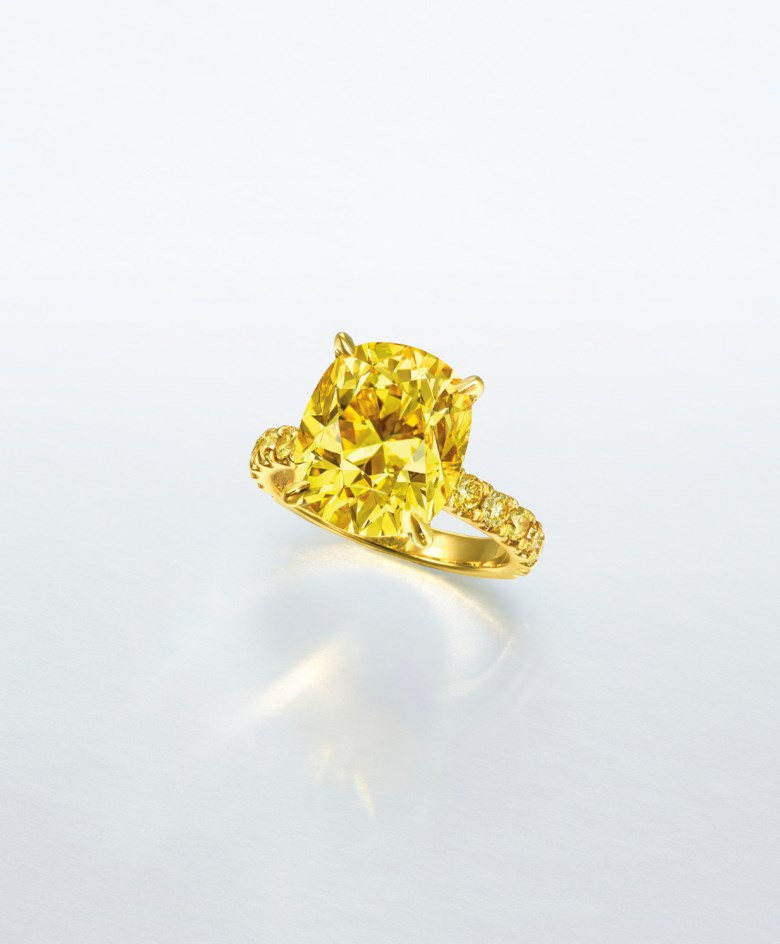 An important coloured diamond ring. Fancy vivid yellow cushion brilliant-cut diamond of 7.03 carats, circular-cut yellow diamond, gold, ring size 5¾. Estimate HK$3,000,000-5,000,000. Offered in Hong Kong Magnificent Jewels on 9 July 2020 at Christie's in Hong Kong
