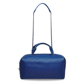 A BLUE CALFSKIN LEATHER CHAIN TOTE BAG WITH SILVER HARDWARE