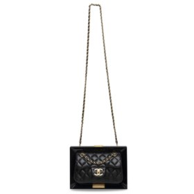 A RUNWAY BLACK LAMBSKIN LEATHER & LUCITE FRAME BAG WITH DIST