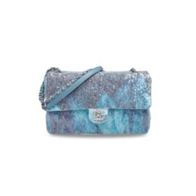 A RUNWAY BLUE WATERFALL SEQUIN JUMBO SINGLE FLAP BAG WITH SI