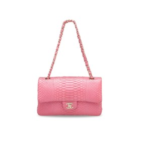 A MATTE PINK PYTHON MEDIUM CLASSIC DOUBLE FLAP BAG WITH GOLD