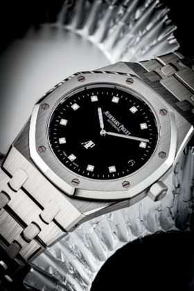 AUDEMARS PIGUET A RARE PLATINUM AND DIAMOND-SET LIMITED EDIT