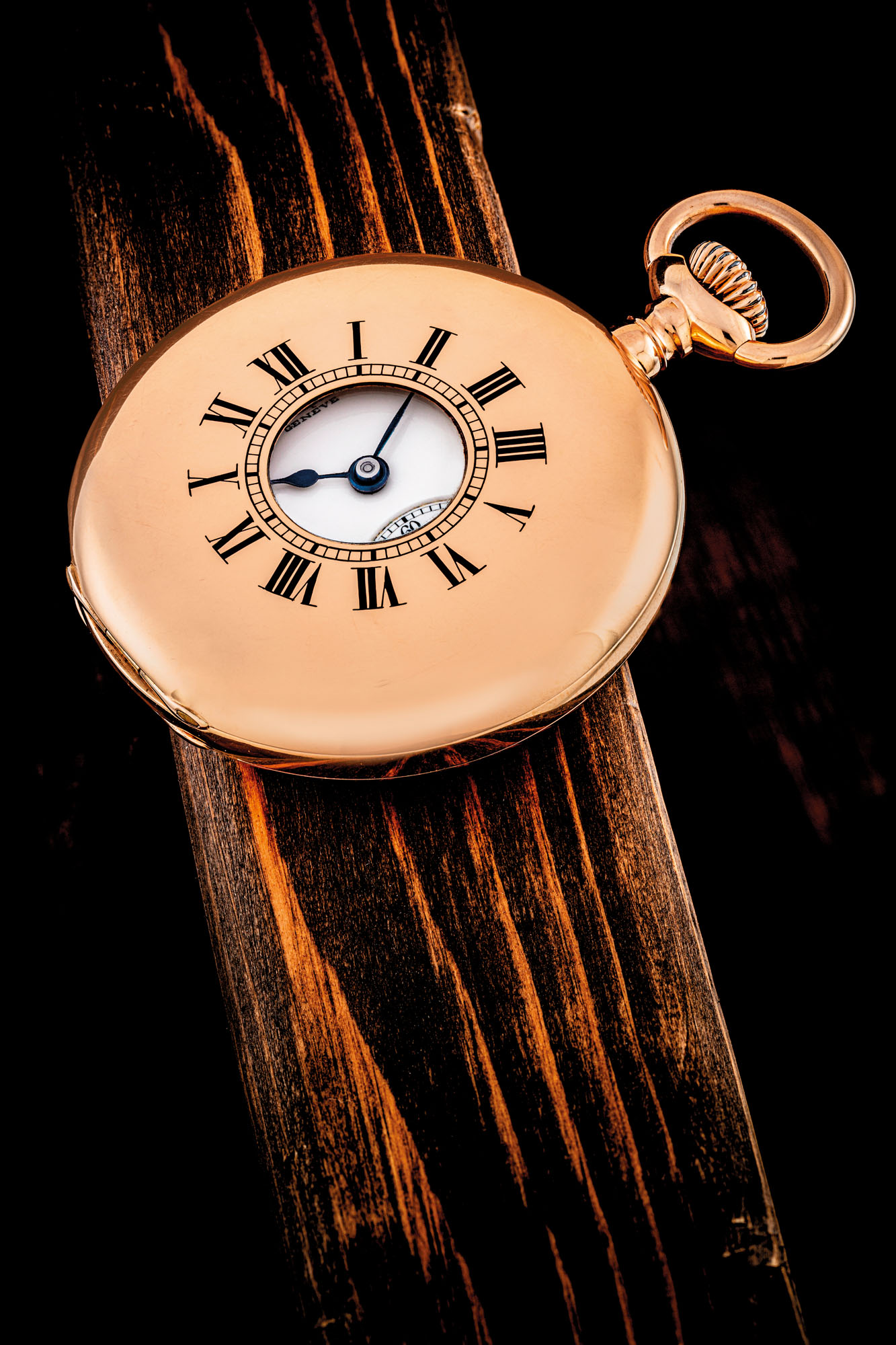 PATEK PHILIPPE. AN 18K PINK GOLD KEYLESS LEVER WATCH WITH ENAMEL DIAL