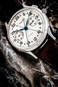 UNIVERSAL. AN EXTREMELY RARE OVERSIZED STAINLESS STEEL MILITARY SPLIT SECONDS CHRONOGRAPH 24-HOUR WRISTWATCH WITH 16-MINUTE REGISTER, MADE FOR THE ITALIAN NAVY