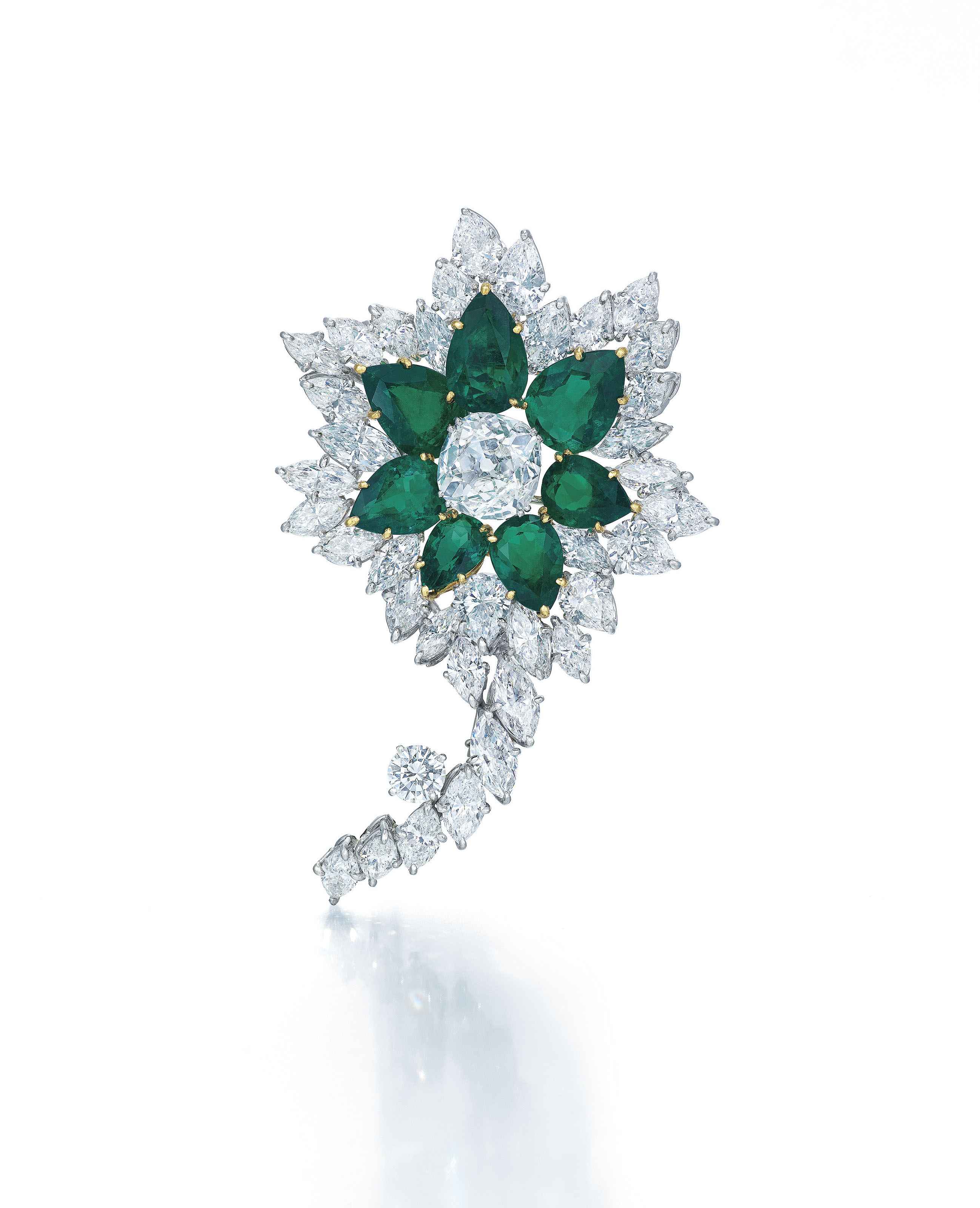 IMPORTANT DIAMOND AND EMERALD BROOCH, HARRY WINSTON