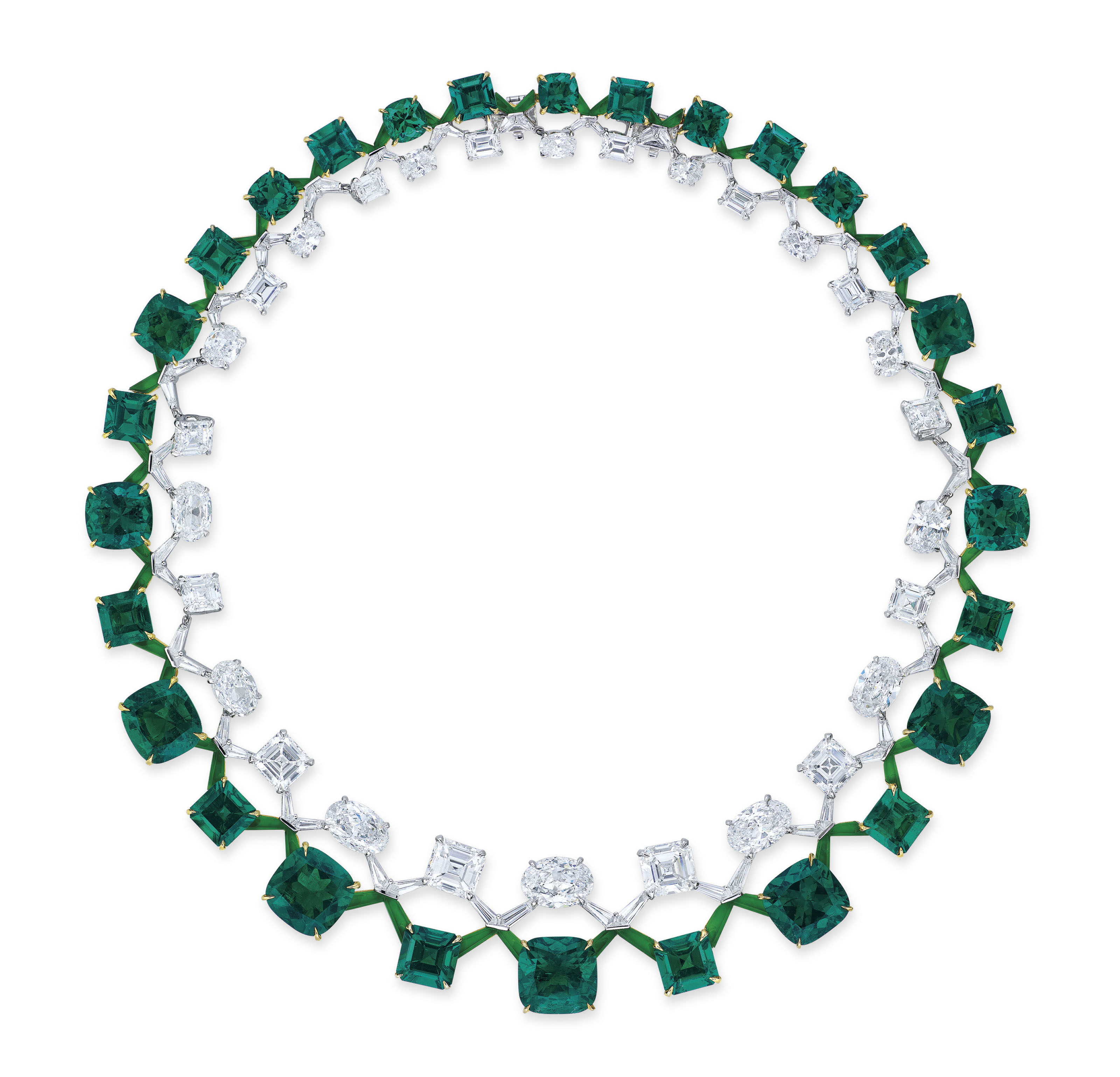BOGHOSSIAN EMERALD AND DIAMOND DOUBLE RIVIÈRE