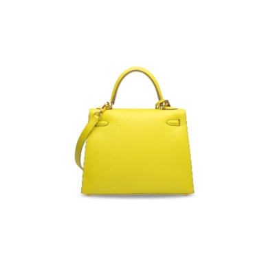 A LIME EPSOM LEATHER SELLIER K