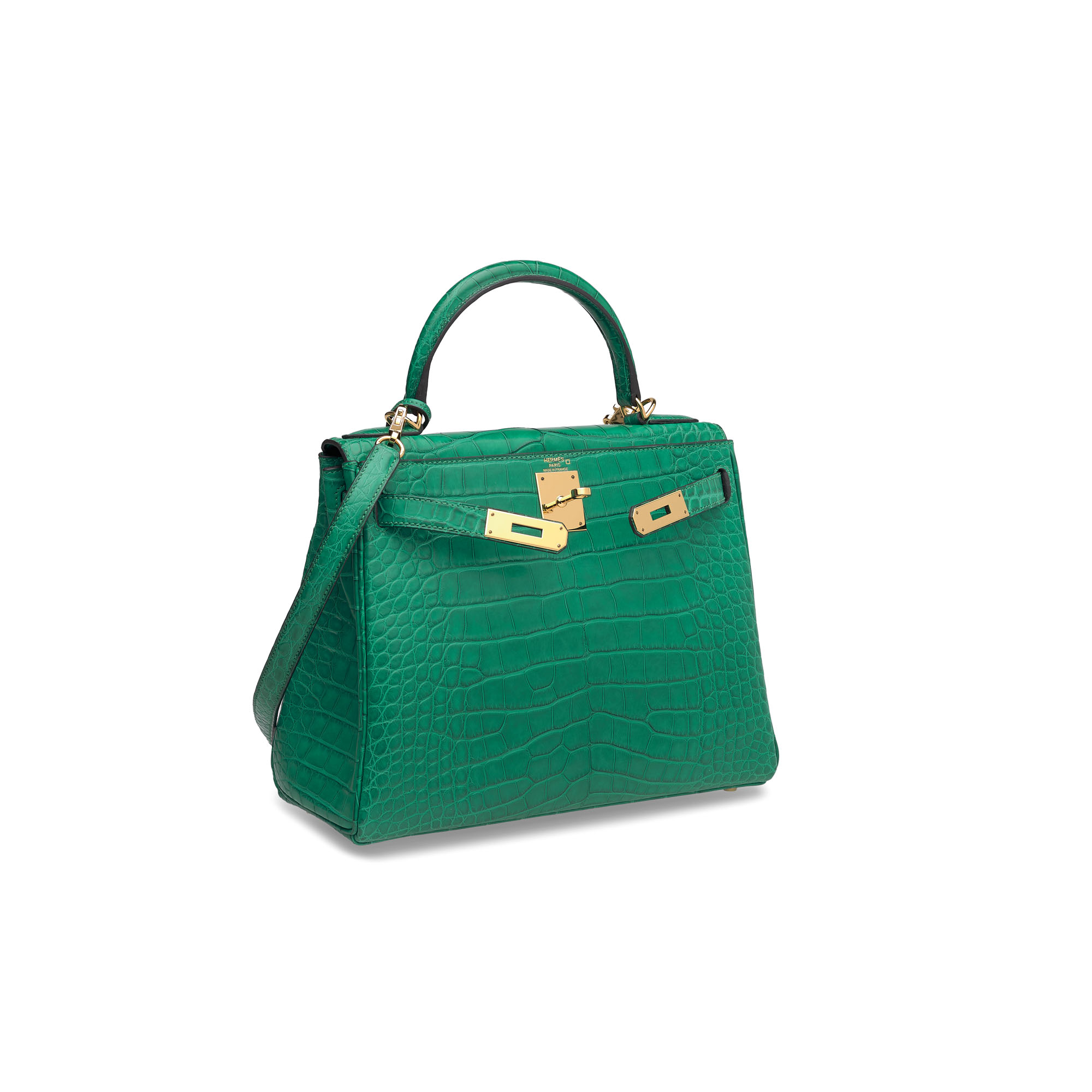 A MATTE MALACHITE ALLIGATOR RETOURNÉ KELLY 28 WITH GOLD HARDWARE