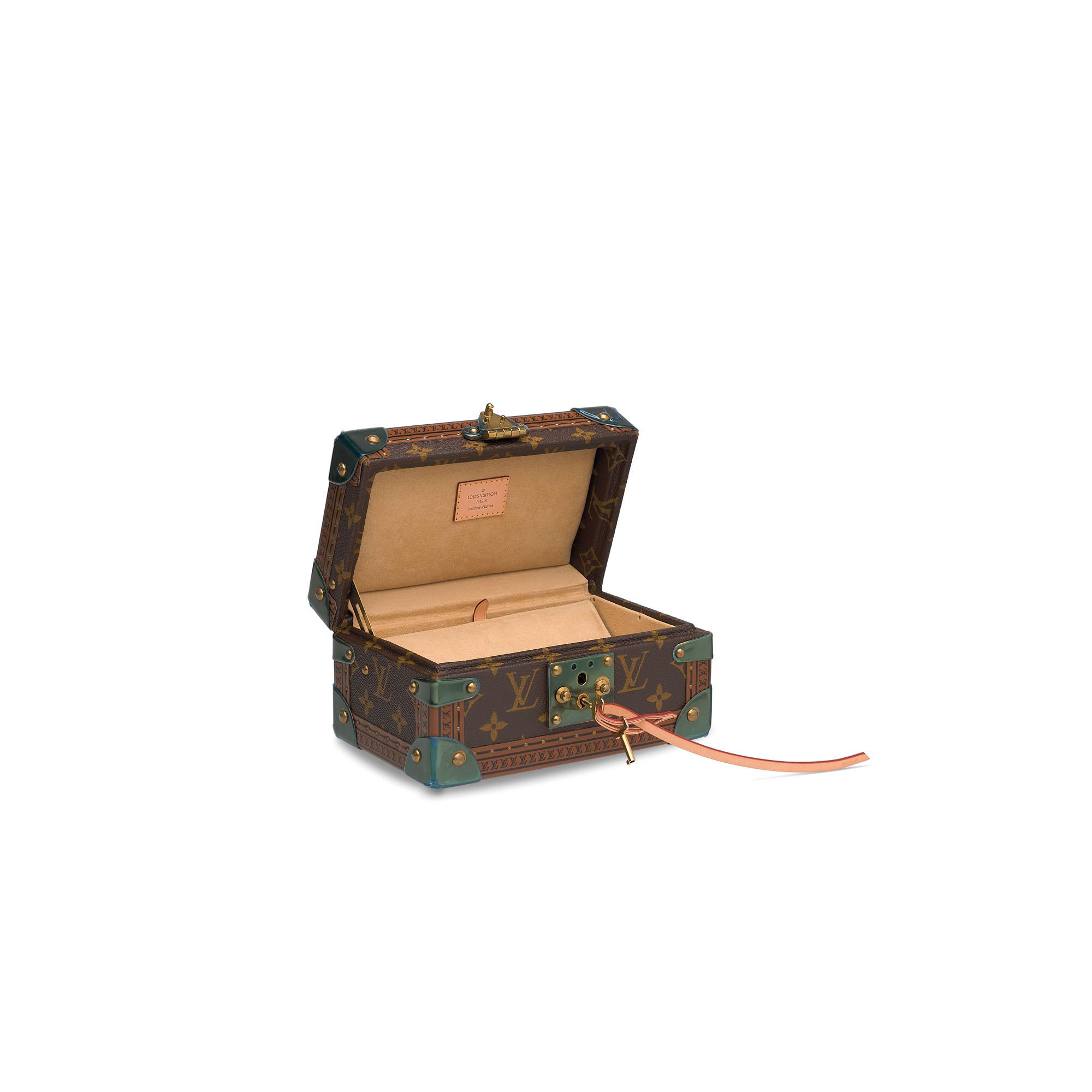 A PAINTED MONOGRAM CANVAS COFFRET TRÉSOR BOX 20 WITH BRASS HARDWARE