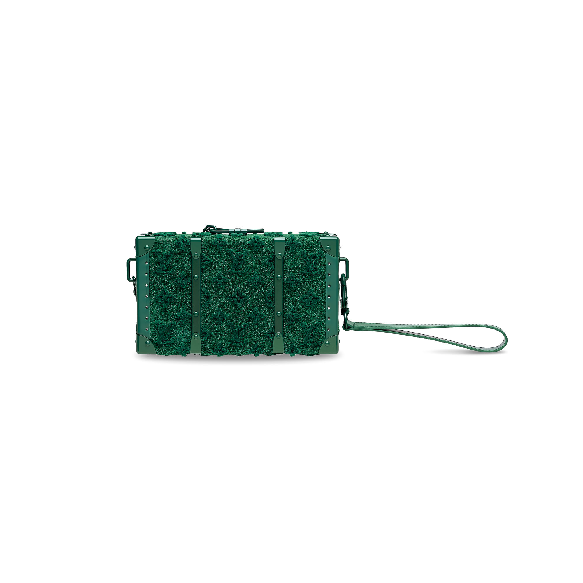 A LIMITED EDITION GREEN TUFFETAGE MONOGRAM WALLET TRUNK WITH GREEN HARDWARE BY VIRGIL ABLOH
