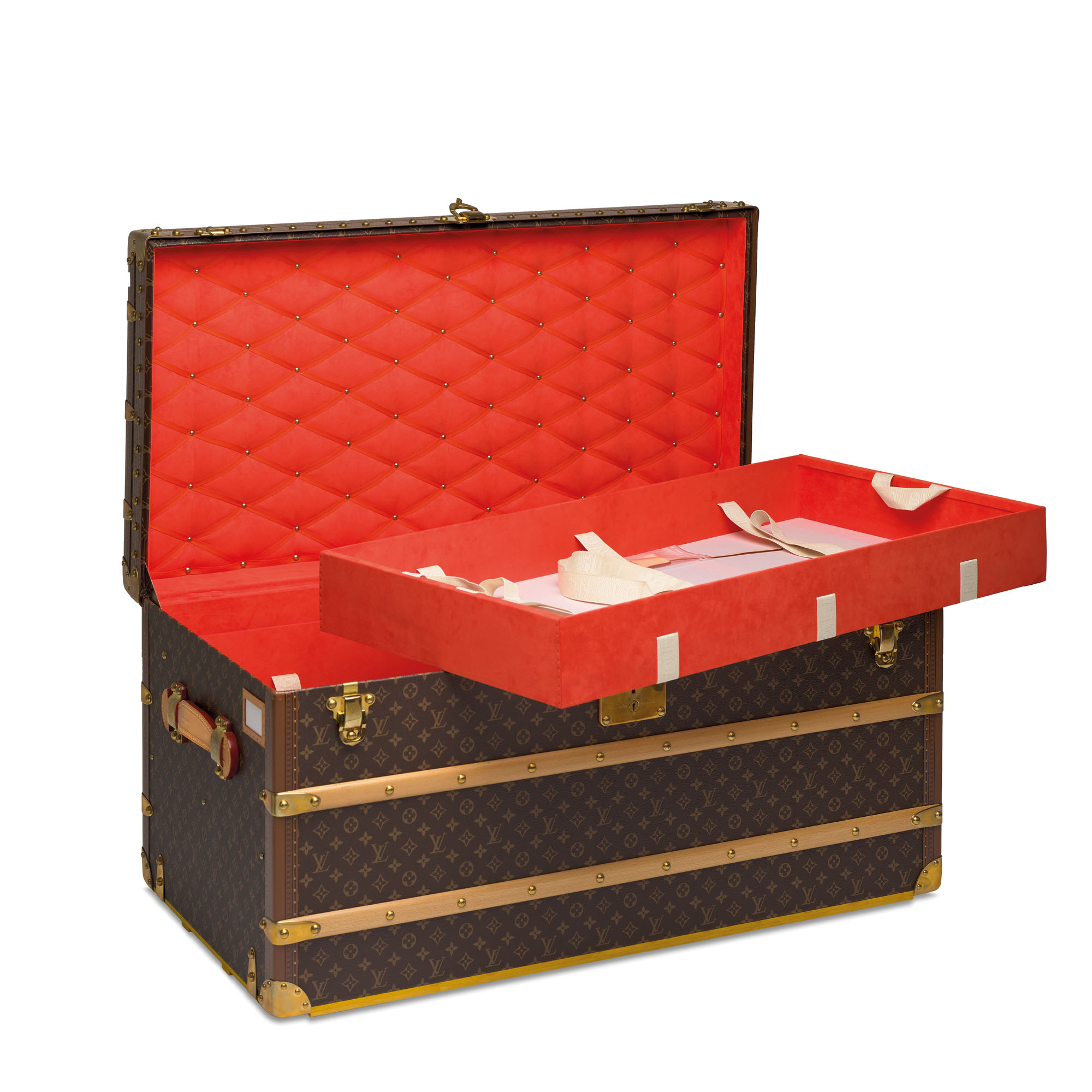 A CUSTOM MONOGRAM MALLE COURRIER LOZINE 100 TRUNK WITH CAPUCINE LINING & BRASS HARDWARE