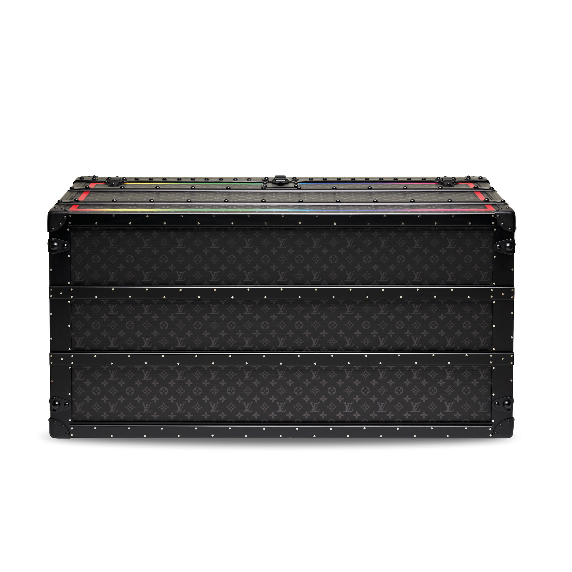 A LIMITED EDITION BLACK RAINBOW MONOGRAM MALLE COURRIER 110 TRUNK WITH BLACK HARDWARE BY VIRGIL ABLOH