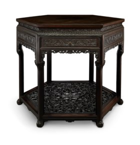 A MAGNIFICENT AND EXTREMELY RARE CARVED ZITAN HEXAGONAL TABL