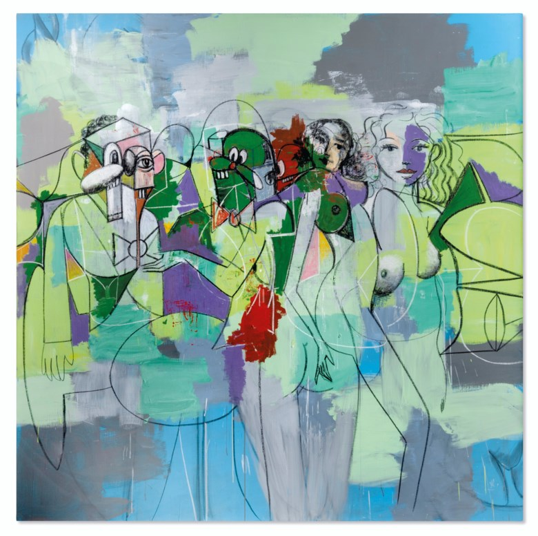 George Condo (b. 1957), Force Field, 2010. Acrylic, charcoal and pastel on linen. 82 x 82 in (208.3 x 208.3 cm). Estimate HK$18,000,000-28,000,000. Offered in ONE A Global Sale of the 20th Century on 10 July 2020 at Christie's in Hong Kong