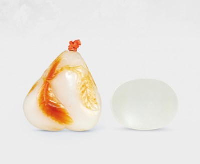 A WHITE AND RUSSET JADE AUBERG