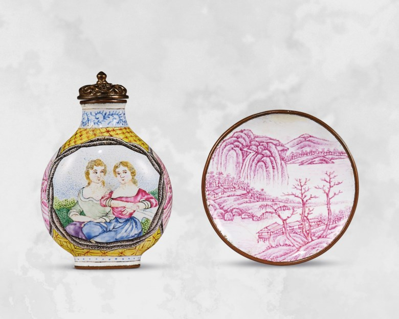A rare and superb painted enamel 'European ladies' snuff bottle and a painted enamel 'landscape' snuff dish. Bottle 2  in (5.1  cm) high, gilt-bronze stopper, dish 1⅞  in (4.7  cm)  diam, box. Estimate HK$450,000-600,000. Offered in Chinese Snuff Bottles and Matching Dishes from Private Collections on 8 October 2020 at Christie's in Hong Kong