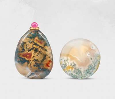 A MOSS-AGATE PEBBLE-FORM SNUFF