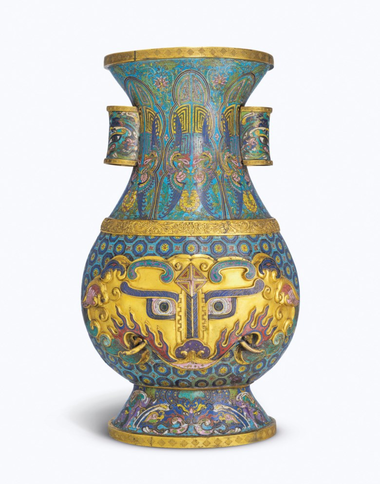 A magnificent imperial cloisonné-enamel 'taotie' hu-form vase, Yongzheng-Qianlong period (1722-1795). 25⅜ in (64.7 cm) high. Estimate HK$3,000,000-5,000,000. Offered in Imperial Glories from the Springfield Museums Collection on 30 November 2020 at Christie's in Hong Kong