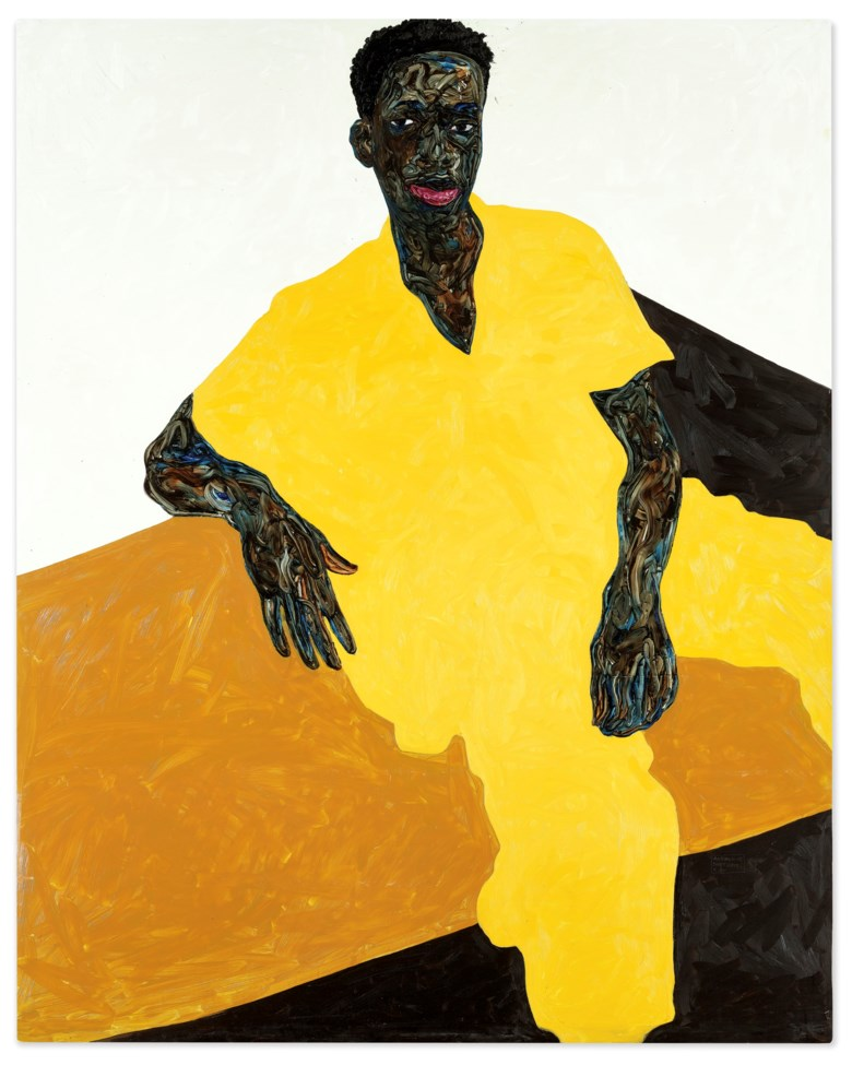 Amoako Boafo (B. 1984), Baba Diop, 2019. oil on canvas. 211 x 167.5 cm. (83 18 x 66 in.). Sold for HK$8,890,000 on 2 December 2020 at 20th Century Hong Kong to New York
