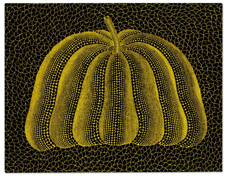 Yayoi Kusama (B. 1929), A-PUMPKIN-SPW, 2014. acrylic on canvas. 112 x 145.5 cm. (44 18 x 57 14 in.). Sold for HK$38,650,000 on 2 December 2020 at 20th Century Hong Kong to New York