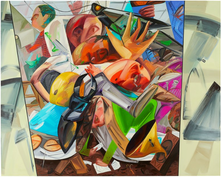 Dana Schutz (B. 1976), Elevator, 2017. oil on canvas. 345.4 x 431.8 cm. (136 x 170 in.). Sold for HK$50,050,000 on 2 December 2020 at 20th Century Hong Kong to New York