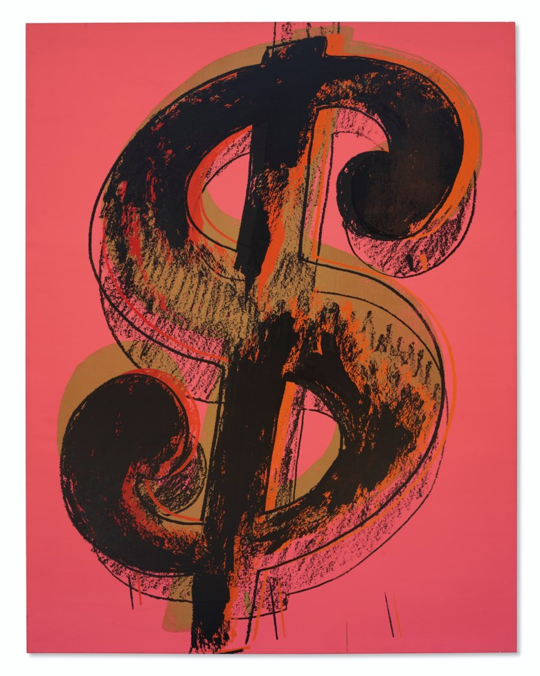 Andy Warhol (1928-1987), Dollar Sign, 1981 . acrylic and silkscreen ink on canvas. 229 x 178 cm. (90 x 70 in.). Sold for HK$50,650,000 on 2 December 2020 at 20th Century Hong Kong to New York