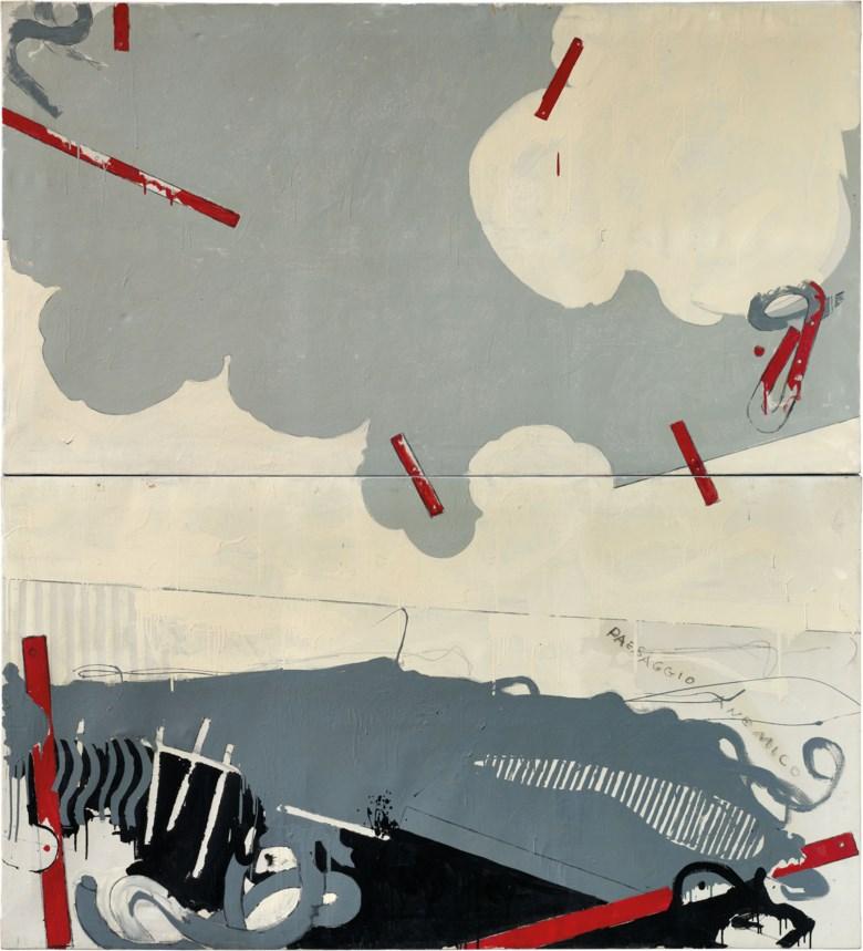 Mario Schifano (1934-1998), Paesaggio anemico I, 1964. Pencil and enamel on canvas diptych. 220 x 200 cm. Estimate €600,000-800,000. Offered in Thinking Italian Milanon 4-5 November 2020 at Christie's in Milan