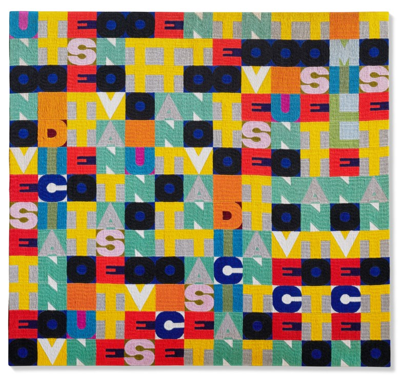 Alighiero Boetti (1940-1994), Senza titolo (Uno nove sette otto), 1978. Embroidery. 91 x 98 cm. Estimate €350,000-500,000. Offered in Thinking Italian Milan on 4-5 November 2020 at Christie's in Milan