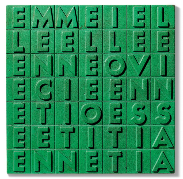 Alighiero Boetti (1940-1994), EMME I ELLE ELLE E…, 1970. Spray paint on cast iron. 35 x 35 x 3 cm. Estimate €80,000-120,000. Offered in Thinking Italian Milan on 4-5 November 2020 at Christie's in Milan