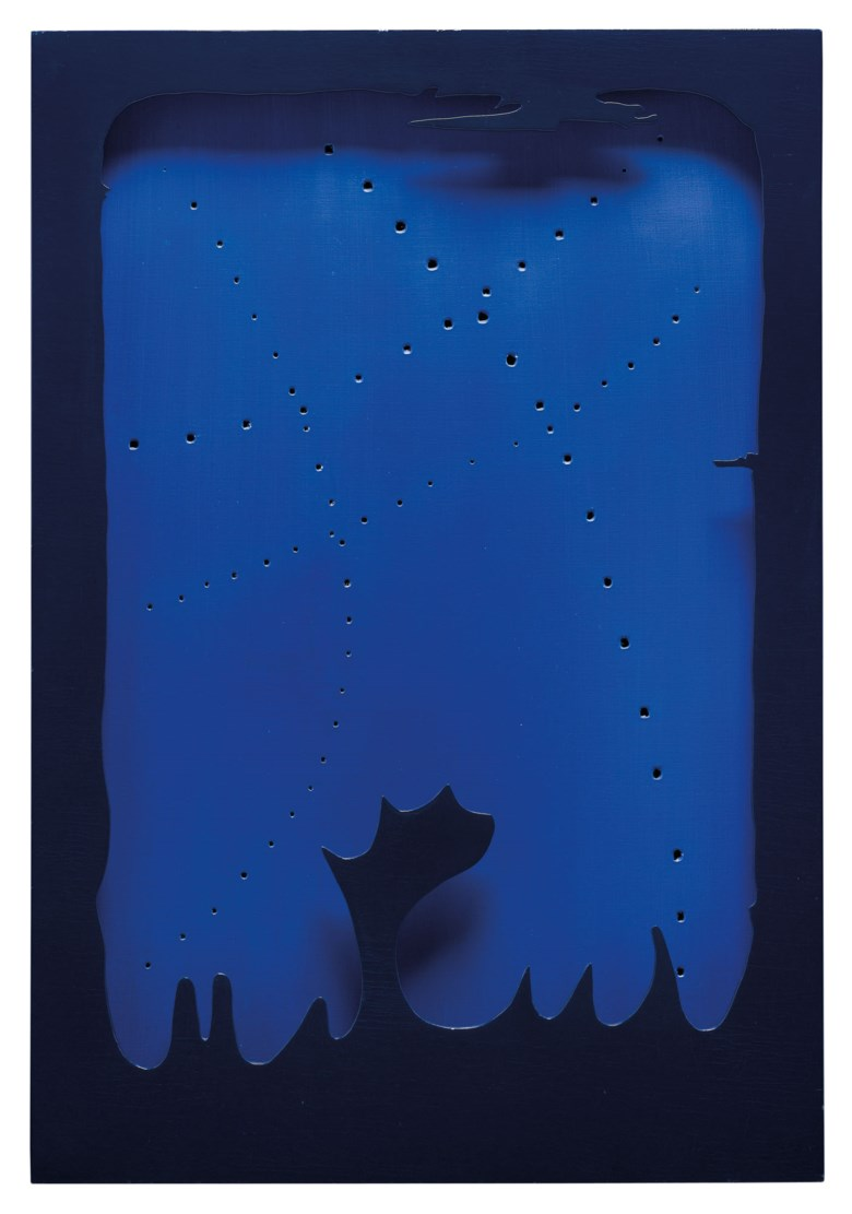 Lucio Fontana (1899-1968), Concetto spaziale, [Teatrino], 1965-66. Waterpaint on canvas and lacquered wood. 35 x 24 in (89 x 61 cm). Estimate €120,000-180,000. Offered in Thinking Italian Milan on 4-5 November 2020 at Christie's in Milan