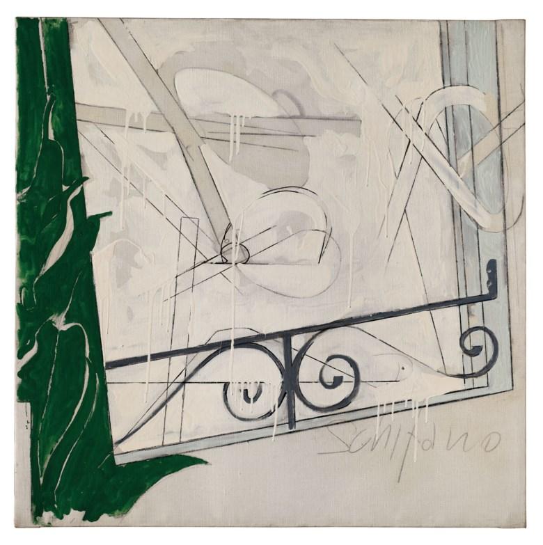 Mario Schifano (1934-1998), Suicidio n. IV, 1965. Pencil and enamel on canvas. 100 x 100 cm. Estimate €50,000-70,000. Offered in Thinking Italian Milanon 4-5 November 2020 at Christie's in Milan