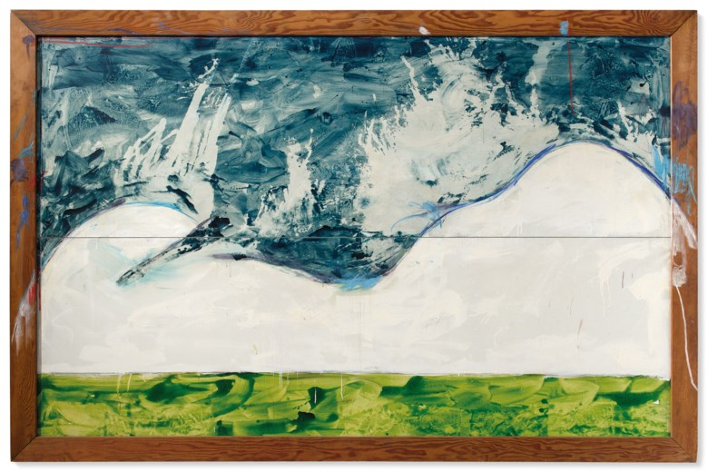 Mario Schifano (1934-1998), Veduta interrotta, 1972. Enamel and pastel on canvas in the artist's frame. 190 x 300 cm. Estimate €80,000-120,000. Offered in Thinking Italian Milan  on 4-5 November 2020 at Christie's in Milan