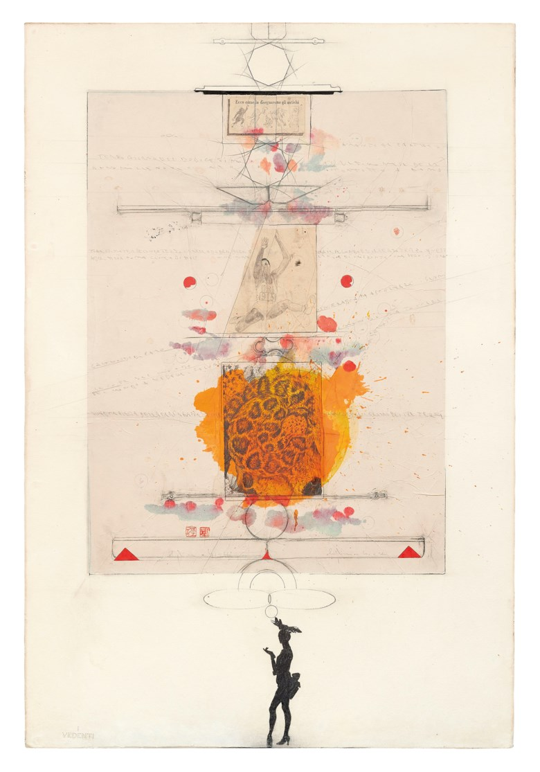 Alighiero Boetti (1940-1994),  Senza titolo (Scrittura come linea di divisione...), 1988. Pencil, watercolour and collage on paper affixed to canvas. 151 x 102 cm. Estimate €30,000-40,000. Offered in Thinking Italian Milan on 4-5 November 2020 at Christie's in Milan