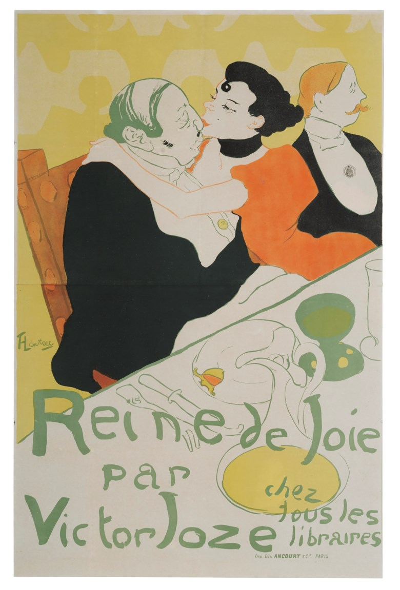 Henri de Toulouse-Lautrec (1864-1901), La Reine de Joie. Lithograph in colours. Sheet 57¾x 39 in (1469 x 990 mm). Estimate $20,000-30,000. Offered in  The Collection of A. Jerrold Perenchio Chartwell An Henri Samuel Commission, 1-16 September 2020, Online