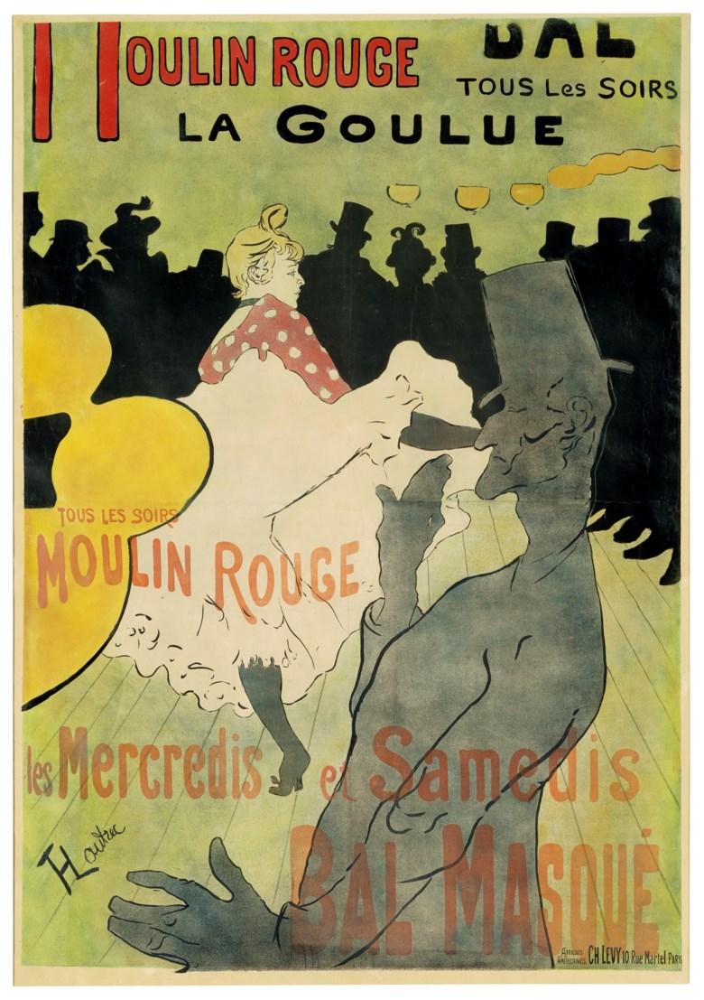 Henri de Toulouse-Lautrec (1864-1901), Moulin Rouge - La Goulue, 1891.Lithograph in colours. Sheet 67⅜ x 47 in (1711 x 1194 mm). Sold for $52,500 on 16 September 2020, Online
