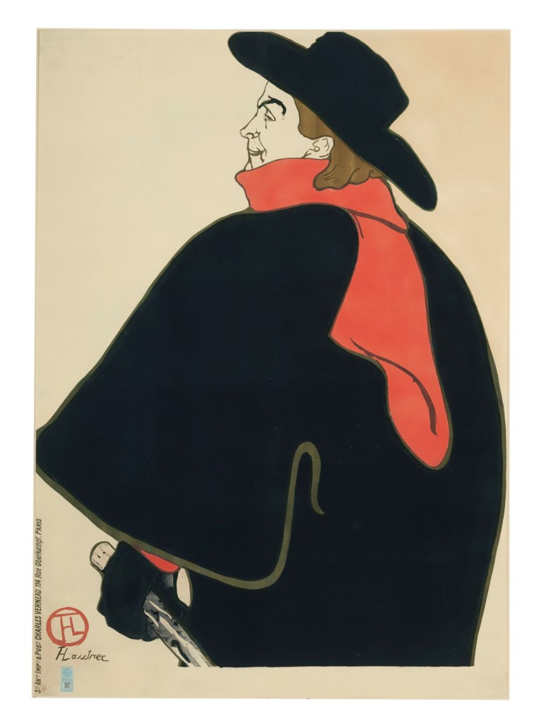 Henri de Toulouse-Lautrec (1864-1901), Aristide Bruant, dans son cabaret, 1893. Lithograph in colours. Sheet 52¾ x 37¾ in (1339 x 958 mm).  Estimate $20,000-30,000. Offered in The Collection of A. Jerrold Perenchio Chartwell An Henri Samuel Commission, 1-16 September 2020, Online