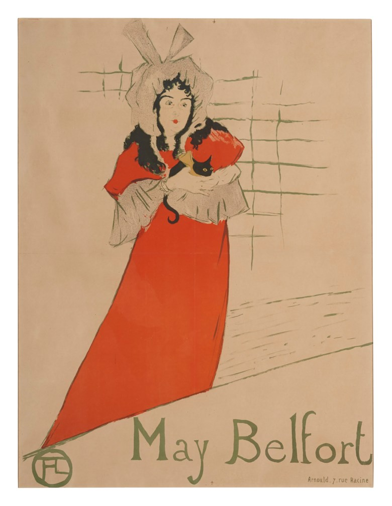 Henri de Toulouse-Lautrec (1864-1901), May Belfort, 1895. Lithograph in colours. Sheet 31⅝ x 24¼ in (805 x 615 mm). Estimate $20,000-30,000. Offered in The Collection of A. Jerrold Perenchio Chartwell An Henri Samuel Commission, 1-16 September 2020, Online