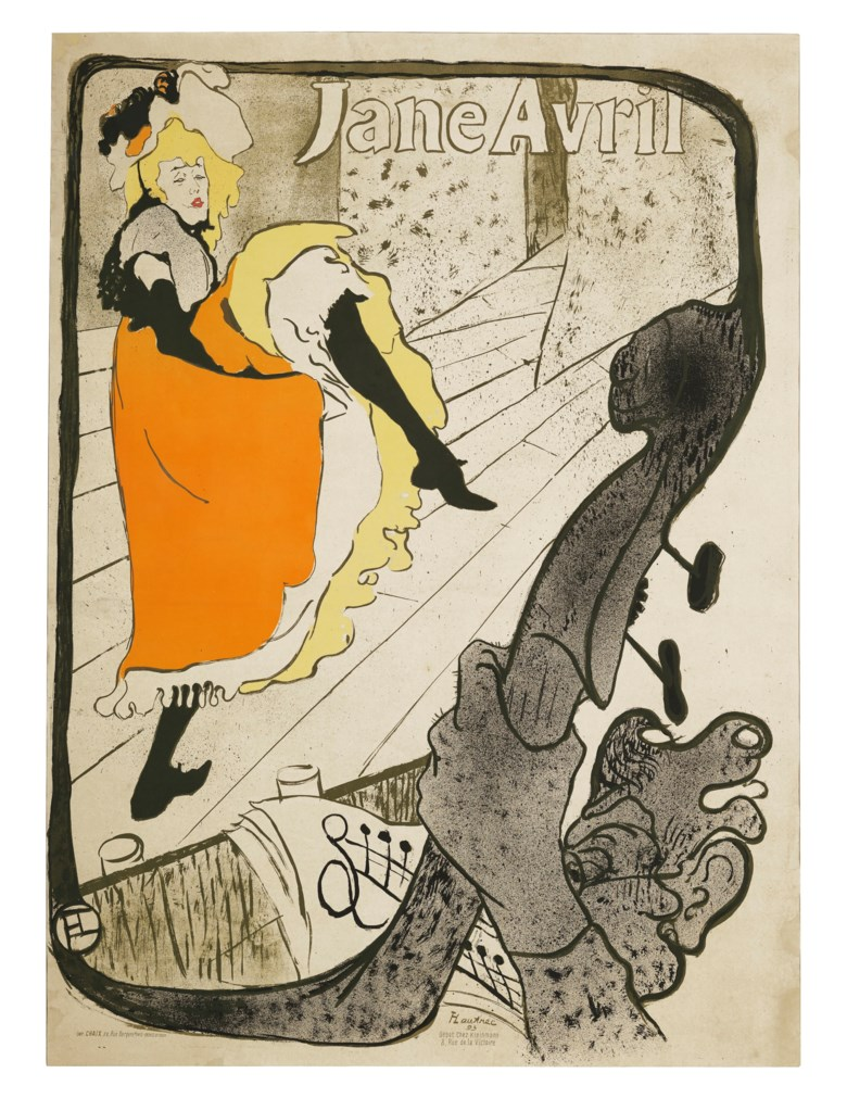 Henri de Toulouse-Lautrec (1864-1901), Jane Avril, 1893. Lithograph in colours, on wove paper, 1893. Sheet 50¾ x 36⅝ in. Estimate $15,000-20,000. Offered in  The Collection of A. Jerrold Perenchio Chartwell An Henri Samuel Commission, 1-16 September 2020, Online