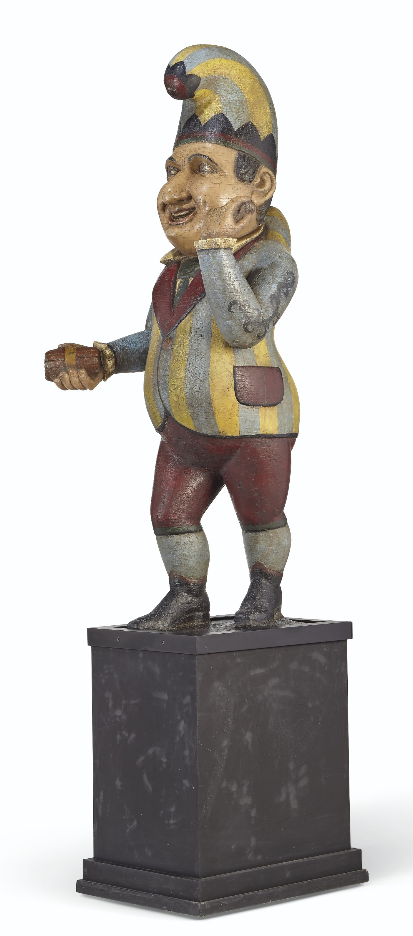 A CARVED AND POLYCHROME PAINT-DECORATED CIGAR STORE FIGURE OF 'PUNCH'