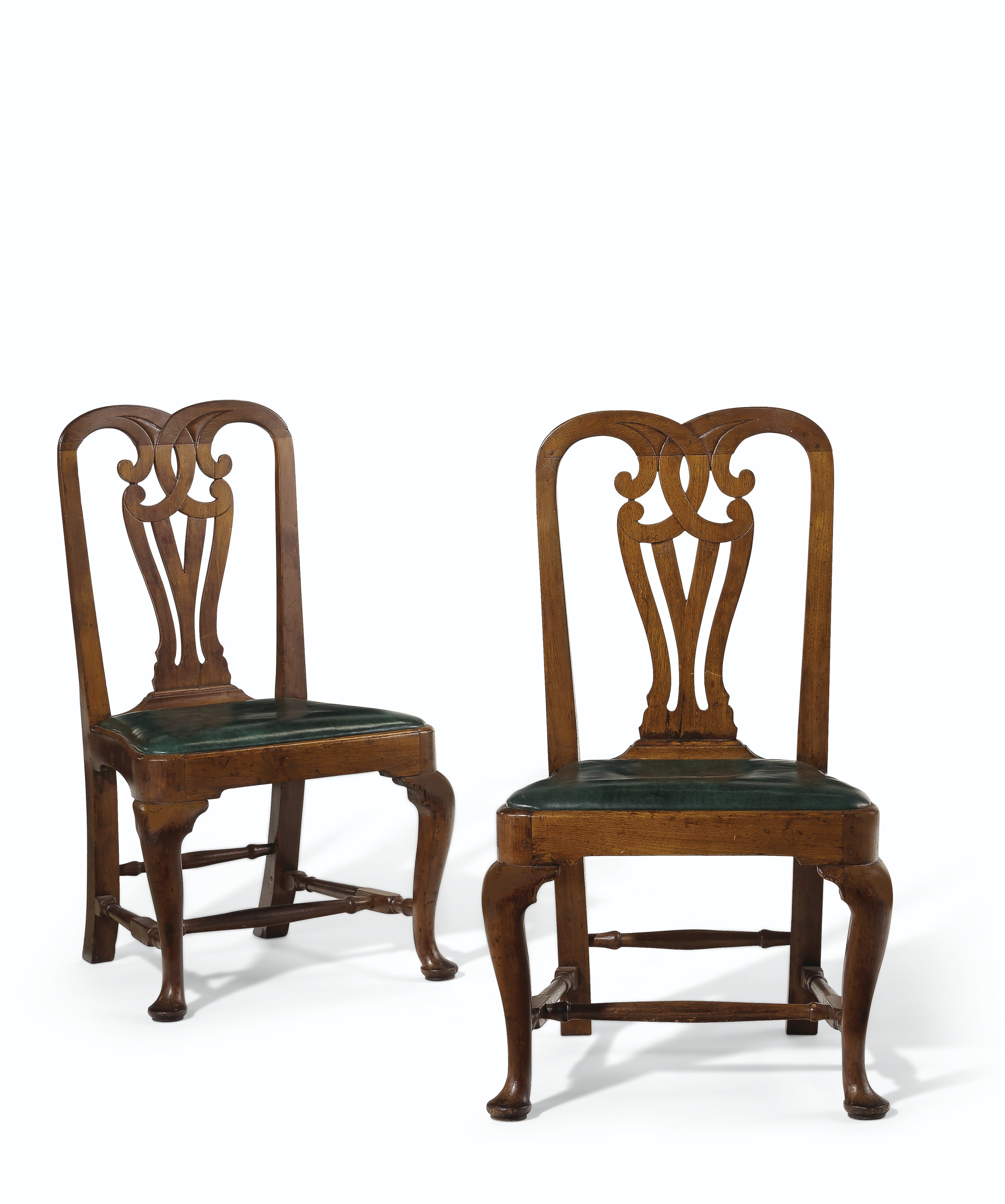 THE TILLINGHAST FAMILY PAIR OF QUEEN ANNE WALNUT SIDE CHAIRS