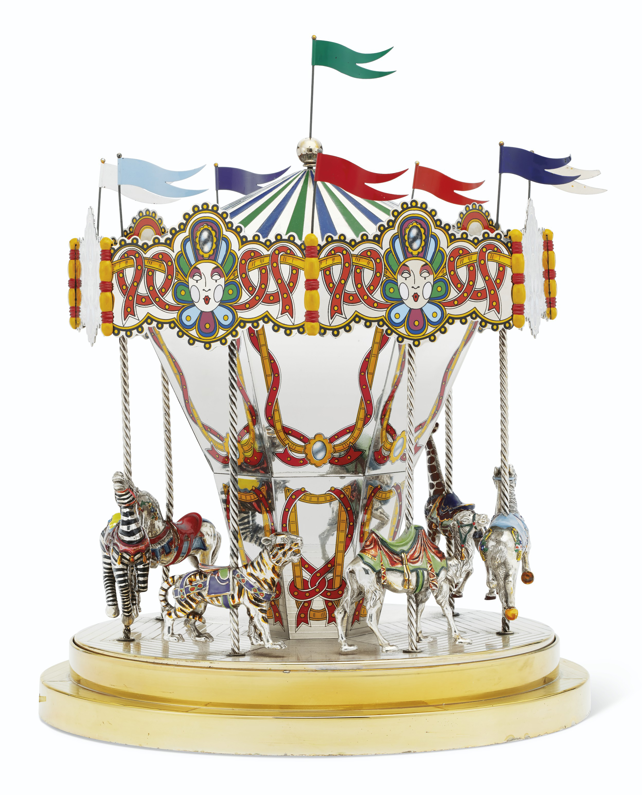AN AMERICAN PARCEL-GILT SILVER AND ENAMEL MUSICAL CAROUSEL