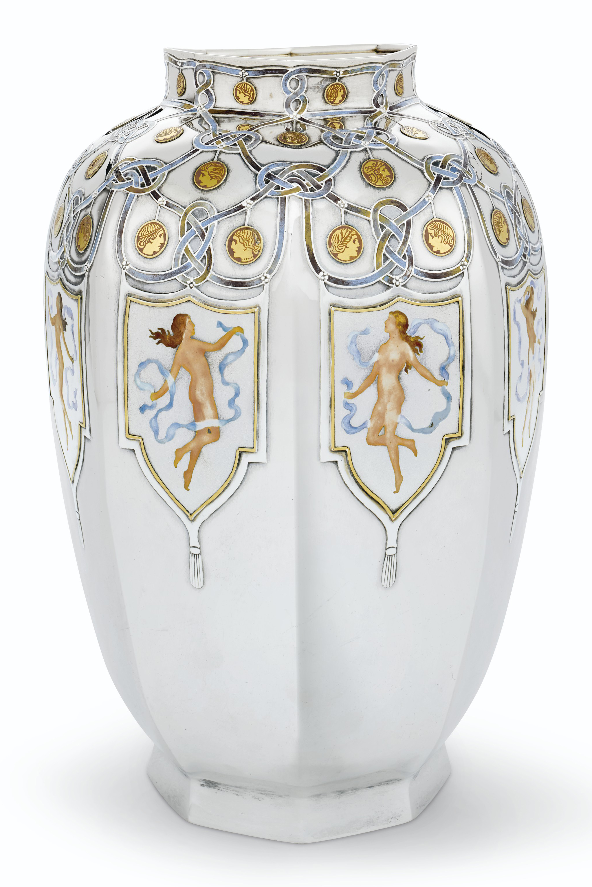 1915 PANAMA-PACIFIC INTERNATIONAL EXPOSITION: AN IMPORTANT AMERICAN SILVER, GOLD AND ENAMEL VASE