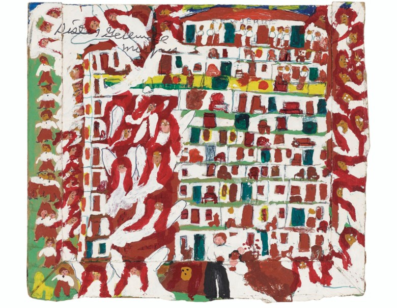Sister Gertrude Morgan (1900-1980), New Jerusalem. Acrylic and ink on pieced card. 6¾ x 7¾ in (9.5 x 19.6 cm). Estimate $3,000-5,000. Offered in Outsider Art on 17 January 2020 at Christie's in New York
