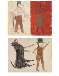 Man on White, Woman on Red / Man with Black Dog, double sided, 1939-1942