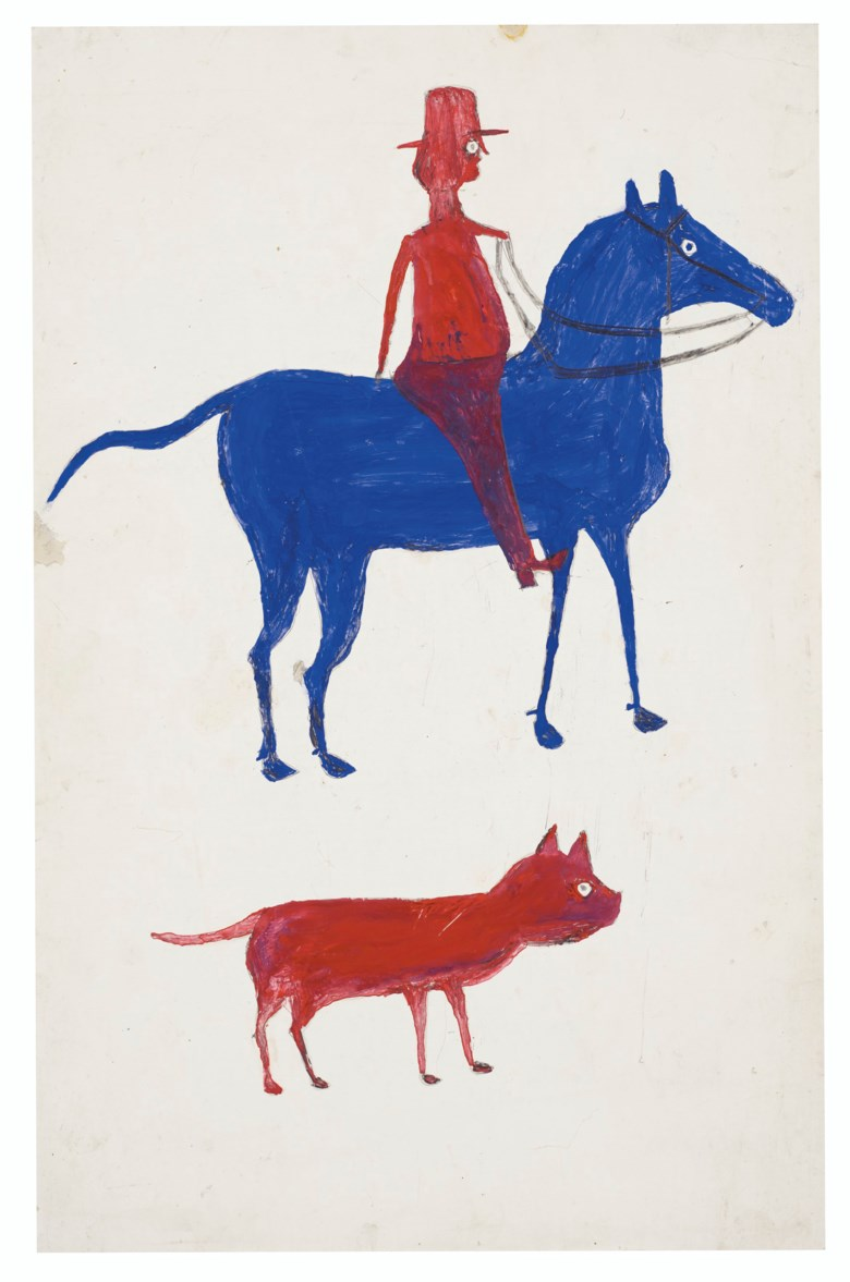 Bill Traylor (circa 1853-1949), Red Man on Blue Horse with Dog, 1939-1942. Tempera and graphite on repurposed card. 22⅛ x 14¼ in. Estimate $150,000-250,000. Offered in Outsider Art on 17 January 2020 at Christie's in New York