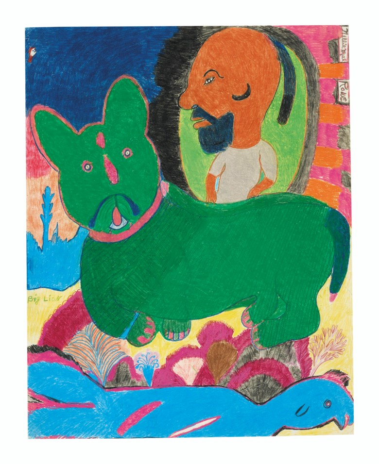 Nellie Mae Rowe (1900-1982), Big Lion, circa 1980. Estimate $5,000-10,000. Crayon and pastel on paper. 24 x 19 in. Offered in Outsider Art on 17 January 2020 at Christie's in New York