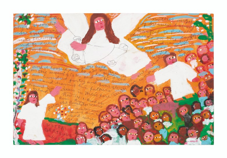 Sister Gertrude Morgan (1900-1980), And I Saw Another Angel. Paint on card. 10⅜ x 16 in ( 26.3 x 40.6 cm). Estimate $4,000-8,000. Offered in Outsider Art on 17 January 2020 at Christie's in New York